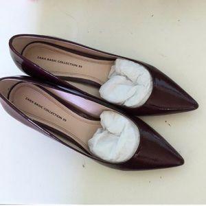 Zara Burgundy  Chunky Heel 8.5